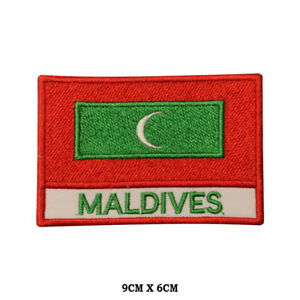 MALDIVES-National-Flag-Embroidered-Patch-Iron-on-Sew-On-Badge-For-Clothes-etc