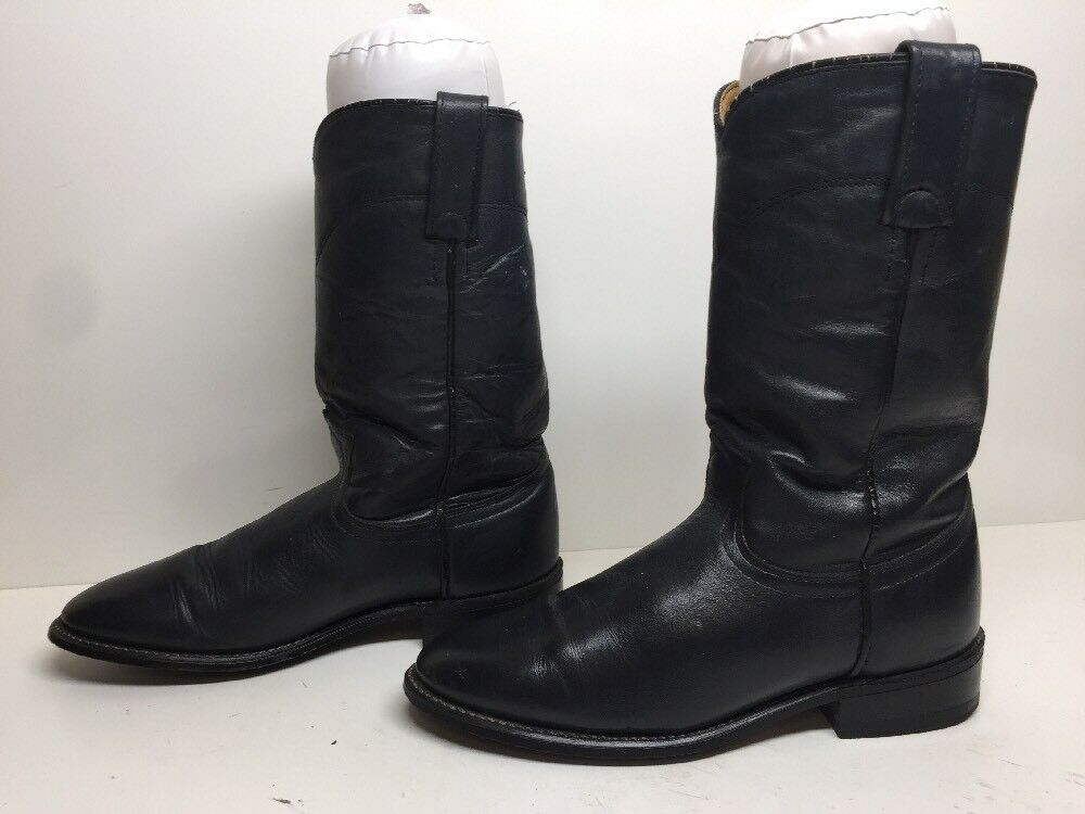 VTG WOMENS ACME WESTERN ROPER LEATHER DARK GRAY BOOTS SIZE 7 M