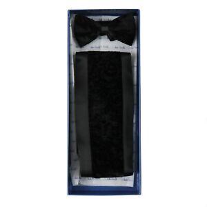 38937e75c55f $495 NIB ITALO FERRETTI Solid Black Crushed Velvet Silk Cummerbund ...