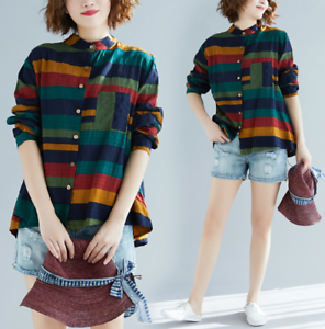 Womens-Multi-colors-Linen-Blend-Stand-Collar-Long-Sleeves-Casual-Shirt-Haihk