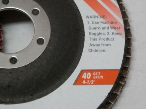 "5 NEW 4-1//2/"" Aluminum Oxide Flap Disc 40 Grit 7//8 wood metal plastic"