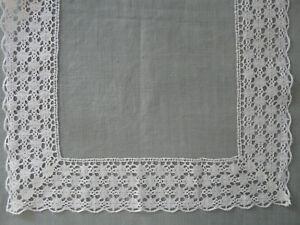 French Antique Bobbin Lace Trim White Linen Puy en Velay Vintage Old Per Yard