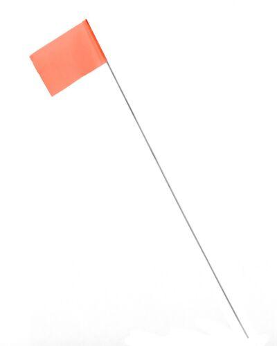 Orange Bundle of 100 AdirPro 15 inch Construction Survey Stake Flags
