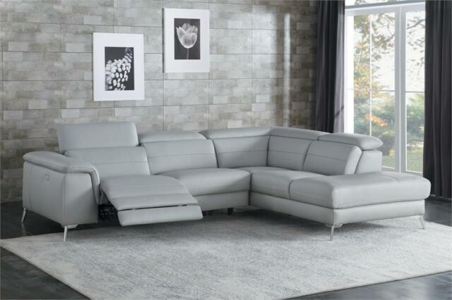 ALL 100% LEATHER GREY RECLINING USB SOFA CHAISE SECTIONAL FURNITURE SALE