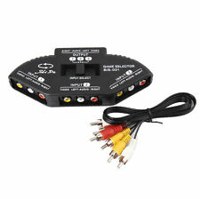 3 Port AV Audio Video RCA Selector Splitter Switch Hub Cable TV Xbox 360 PS3