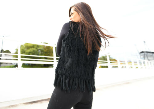Rabbit Gilet Trim Fur Tassle Black In Con Raccoon Finn Knit HRpwvTqxAR