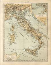 Italien Landkarte Antikes Altes Sardinien Sizilien Neapel Capri Brockhaus 4017