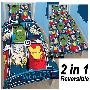 OFFICIAL-MARVEL-AVENGERS-TECH-SINGLE-DUVET-COVER-SET-IRON-MAN-THOR-HULK-NEW
