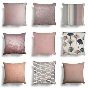 """Blush Cushion Covers Pink Luxury Sofa Throw Filled Cushions Cover 17""""/18"""" 