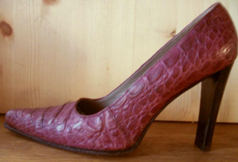 Lila PRADA Pumps Gr. 37 Krokodilleder KROKO Leder  | Outlet Store Online