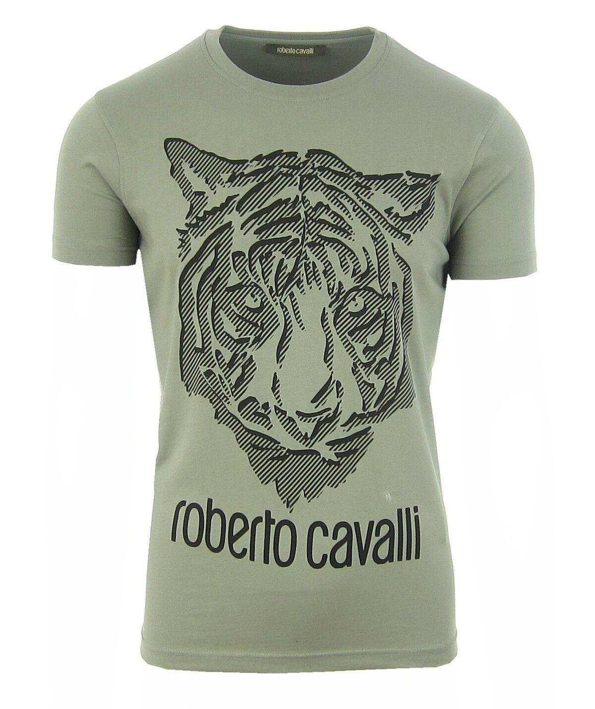 ROBERTO CAVALLI FST612JD061 Herren Men T-Shirt Kurzarm Grüntöne S,M,L,XL,XXL NEU