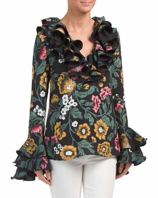 C Meo Collective Woherren Floral Immerse  Ruffle Top SmallNWT
