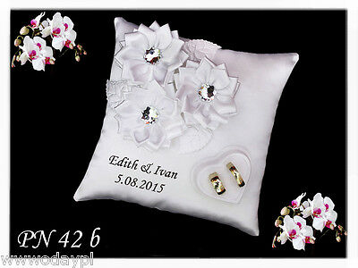 Personalised wedding ring cushion pillow with rings holder box & CRYSTAL STONES