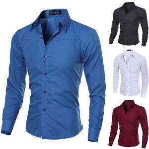 f32cb77f11 Luxury Fashion Men Slim Fit Shirt Long Sleeve Dress Shirts Casual ...