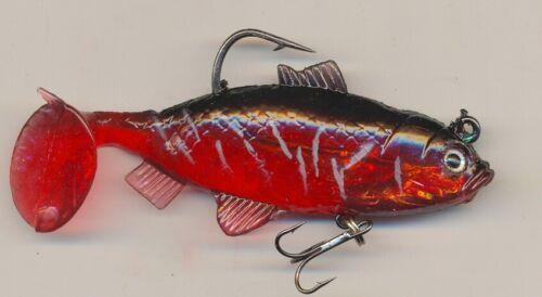 Bass Pike Perch 3 4 /& 5inch soft plastic swim bait lure Multi listing