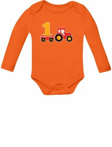 One Year Old Boy Birthday Gift 1st Birthday Tractor Baby Long Sleeve Bodysuit