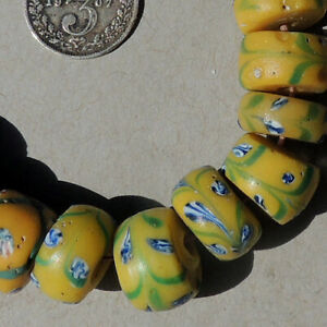 20 old antique venetian floral fancy beads african trade #1835