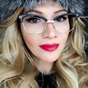 5417b673e75 Retro PinUp Cat Eye SEXY Clear Lens Browline Rockabilly Eyeglasses ...