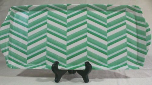 "MAX STUDIO Home White Green Striped MELAMINE Sandwich TRAY OBLONG  6x15/"" Handles"