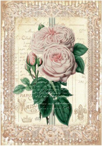 Decoupage-Serviettentechnik-Softpapier-Vintage-Nostalgie-Rose-12161