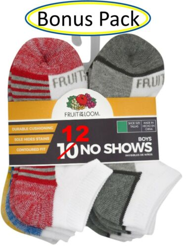 Boys No Show Socks White Fruit of the Loom ~ Size Small ~ 12 Pack ~