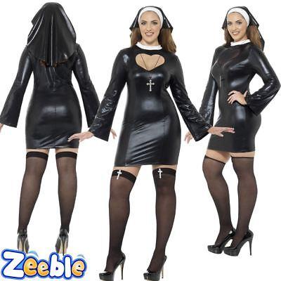 Womens Sexy Nun Costume Ladies Plus Size Nun Fancy Dress Outfit