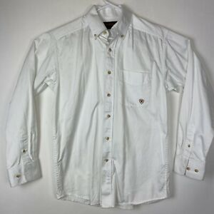Ariat® Men/'s Solid Twill White Long Sleeve Button Shirt 10000503