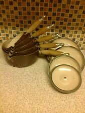 LE CREUSET 5 X PAN SET WITH POURING LIPS + 5 LIDS BROWN 14, 16, 18, 20, 22,