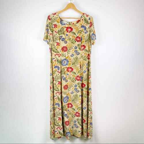 Vintage Maggy London Silk Floral Smocked Waist Cot