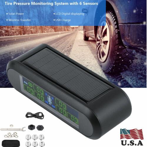 Wireless Solar TPMS Tire Pressure Monitoring System LCD Monitor Alarm /& 6 Sensor