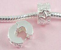 10pcs Silver /P Clip Lock Flower Stopper Beads Fit European Charm Bracelet K14