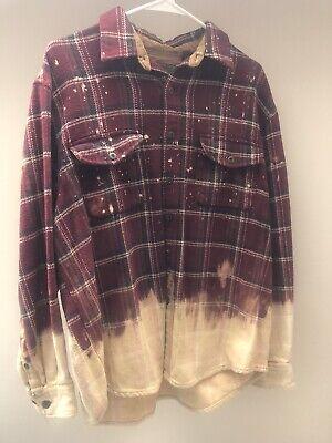 Faded Glory Distressed Dipped Flannel Handmade Shirt Bleached Rockabilly Men/'s Sz XL