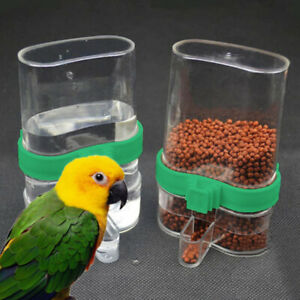 Pet-Bird-Cage-Auto-Water-Bottle-Parrot-Cockatiel-Food-Hanging-Dispenser-Feeder