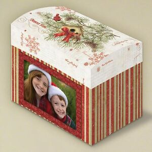 Christmas Card Keepsake Box With Photo Frame Front Flip Top Lid