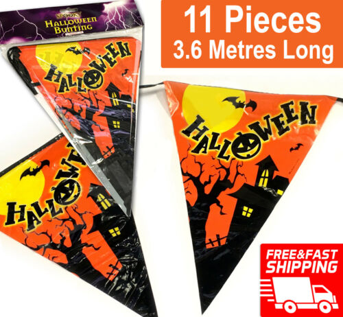 3.6M Halloween Bunting Garland Decoration Hanging Pumpkin Bat Scary Kids Party