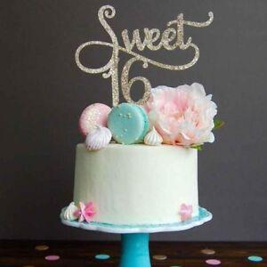 Strange Glitter Gold Sweet 16Th Cake Topper Happy Birthday Party Funny Birthday Cards Online Ioscodamsfinfo