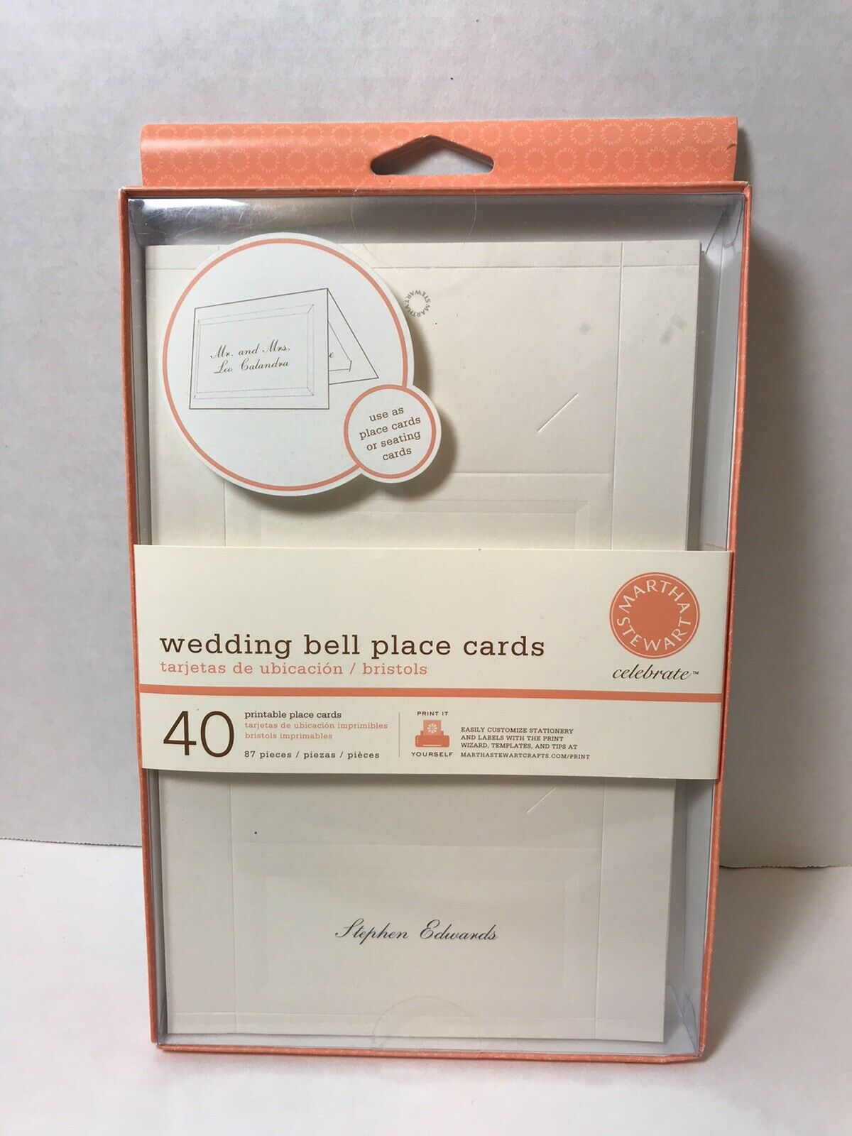 New Martha Stewart Celebrate 40 Wedding Bell Theme Place Cards Ivory For Sale Online