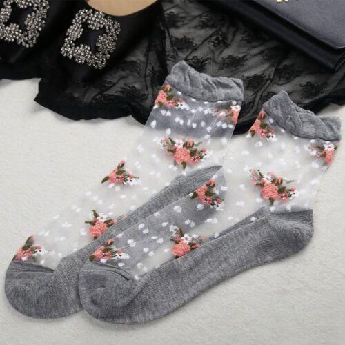 Women Ultrathin Sock Transparent Crystal Rose Flower Elastic Short Socks Summer