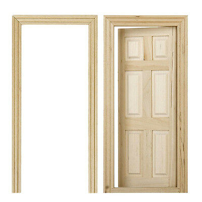 1:12 Unpainted Dollhouse Miniature Furniture Wooden Interior 6-Panel Door +Frame