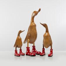 Gestiefelte Ente mit Absätzen blau geblümt Handgemachte Ente aus Holz