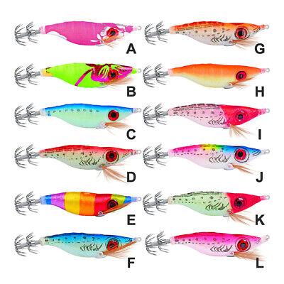5pcs Glow Squid Calamari Jig Sinking Duel Lure 2.5# EGI Squid Shrimp Bait 13g