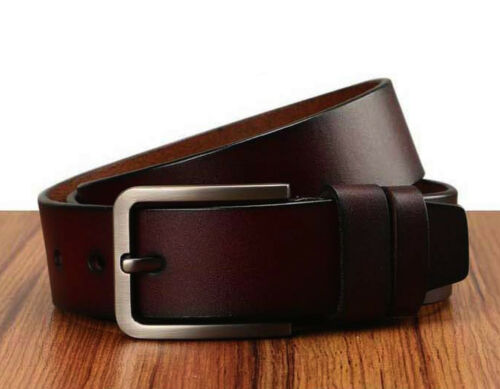 Men/'s Classic Metal Buckle Handcrafted Genuine Leather Needlepoint Jean Belt