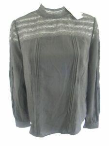 ECI-New-York-Women-039-s-Blouse-Black-Lace-Size-Large-Shirt-Top-Long-Sleeve-NWT