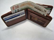 Gents Soft Leather Wallet with three Separate Paper Money Spaces and id flap TAN