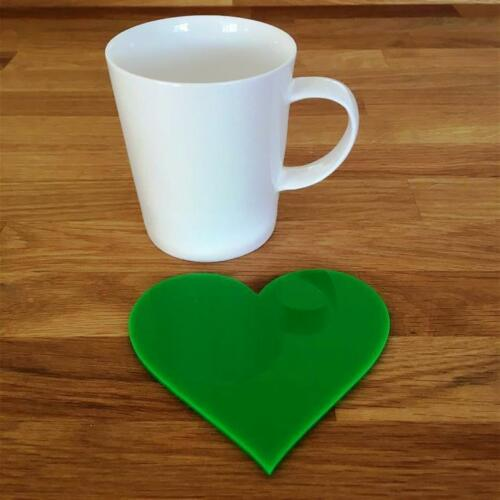 4 6 Bright Green Heart Coasters Easy Wipe Clean for use on any surface Sets 8