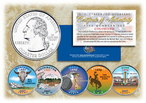 2007-US-Statehood-Quarters-COLORIZED-Legal-Tender-5-Coin-Complete-Set-w-Capsules