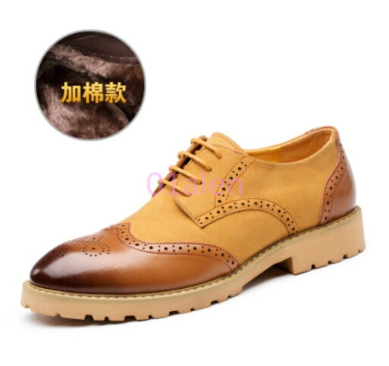 Mens Strappy Faux Suede Leather Brogue Wing tip Casual Canved Formal shoes 2018