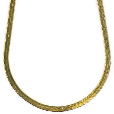 "20/""x 4mm 14K GOLD PLATED HERRINGBONE CHOKER CHAIN NECKLACE 11g C69"