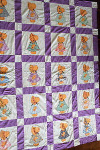 VINTAGE-1920-039-S-1930-039-S-SUNBONNET-SUE-QUILT-TOP-68-INCHES-X-83-INCHES