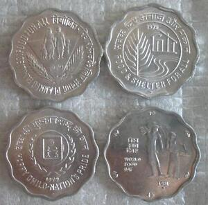 INDIA-10-Paise-1974-1981-UNC-4-Types-FAO-Scalloped-Shape